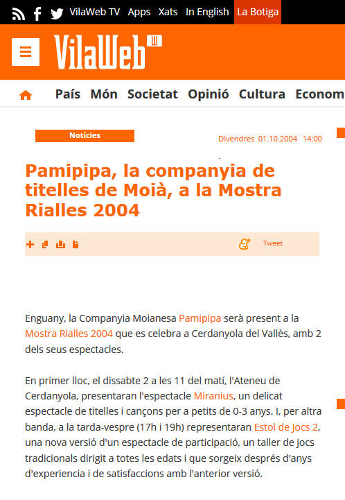 Titelles Pamipipa a la Mostra Rialles (2004)