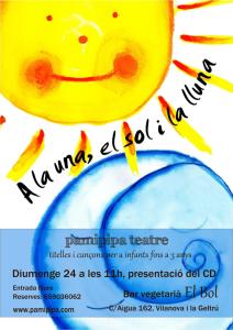 """Cartell de presentació del CD A la una el sol i la lluna al """"Bol"""" de Vilanova i la Geltrú"""