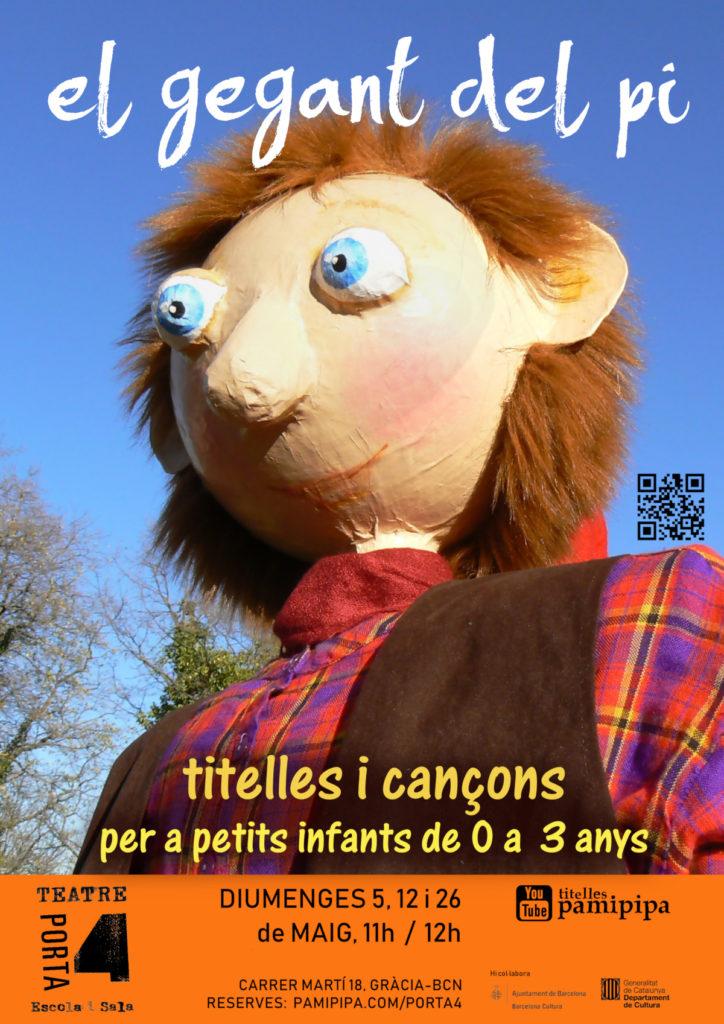 Cartell de el gegant del pi. Espectacle infantil de titelles i cançons.