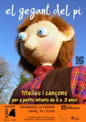 Cartell El gegant del pi al teatre Porta4. Titelles infantils